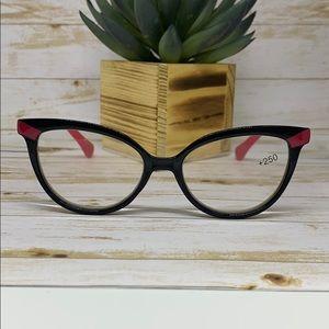 Tahari Cat Eye Reading Glasses Black - Hot Pink